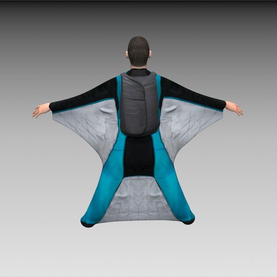 3D Wingsuit Mannelijke Flyer Model Rigged Animated royalty-free 3d model - Preview no. 4