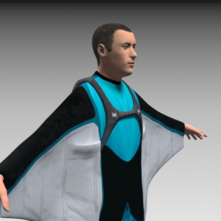 3D Wingsuit Mannelijke Flyer Model Rigged Animated royalty-free 3d model - Preview no. 11