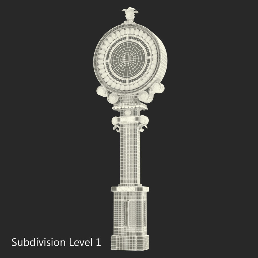 New York Street Clock royalty-free 3d model - Preview no. 15