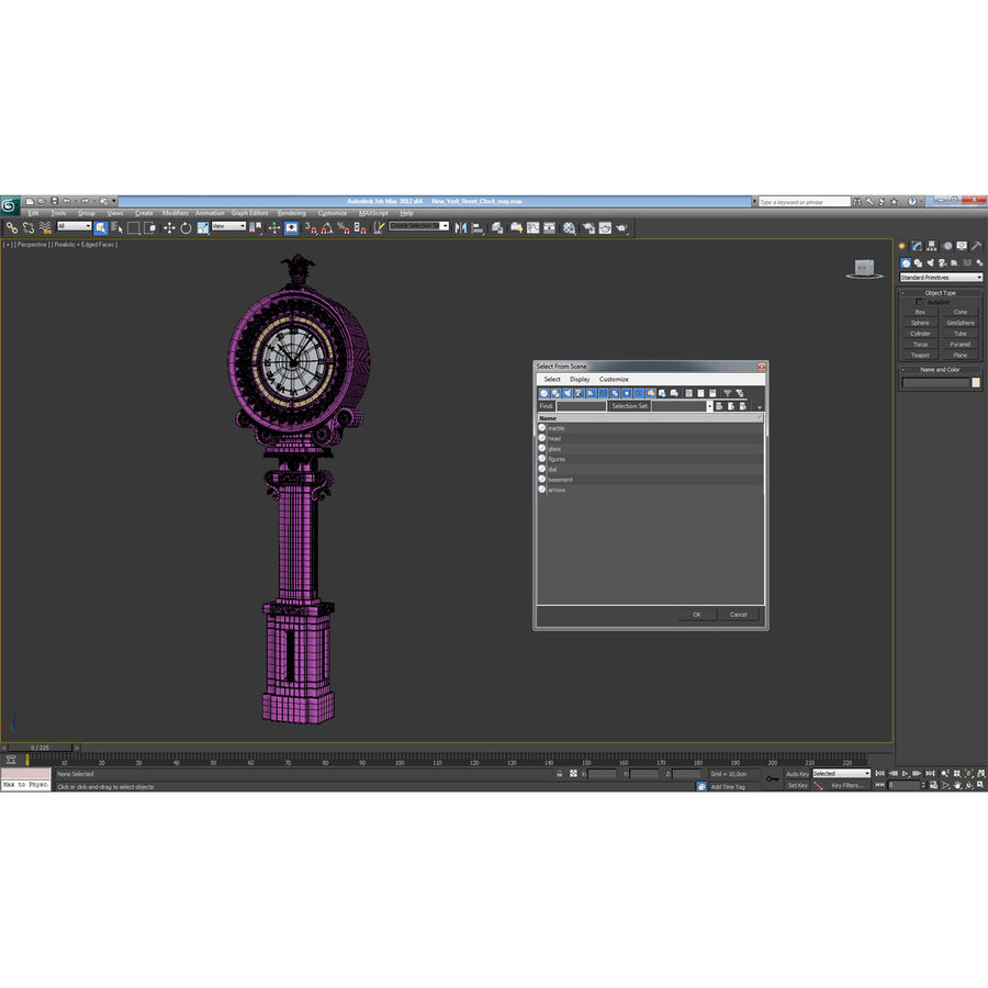 New York Street Clock royalty-free 3d model - Preview no. 20