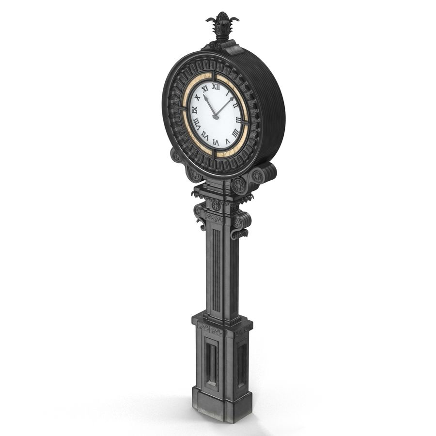 New York Street Clock royalty-free 3d model - Preview no. 5