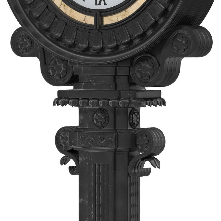 New York Street Clock royalty-free 3d model - Preview no. 11