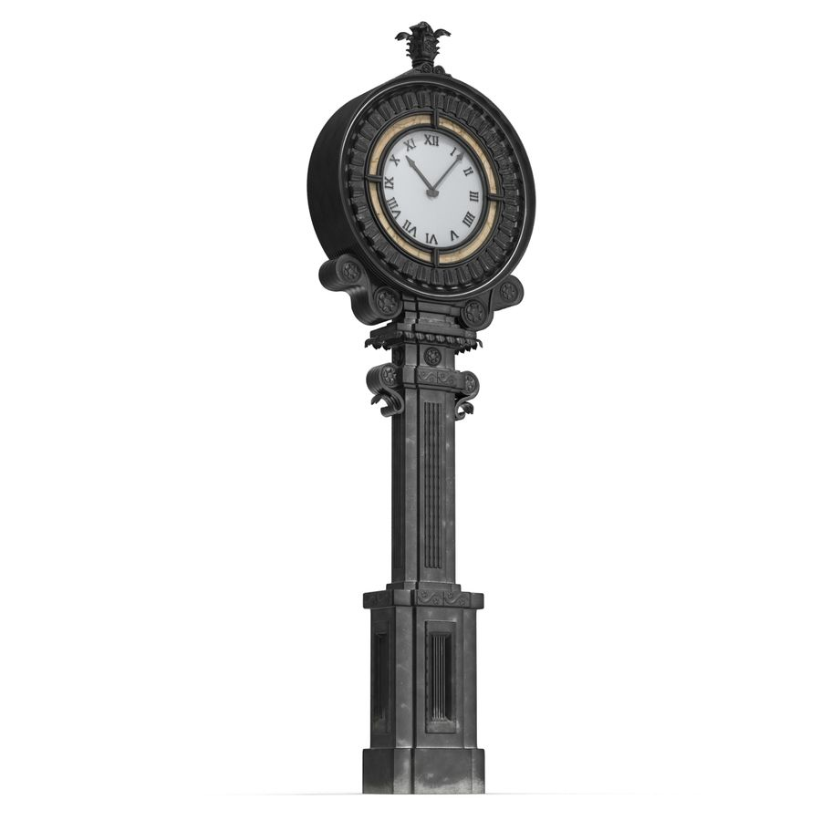 New York Street Clock royalty-free 3d model - Preview no. 6