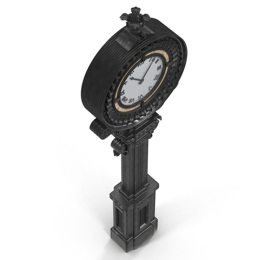 New York Street Clock royalty-free 3d model - Preview no. 7