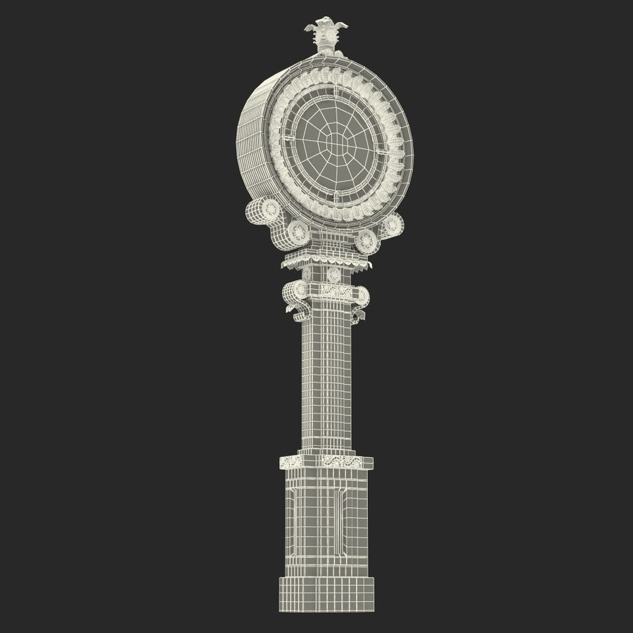 New York Street Clock royalty-free 3d model - Preview no. 22