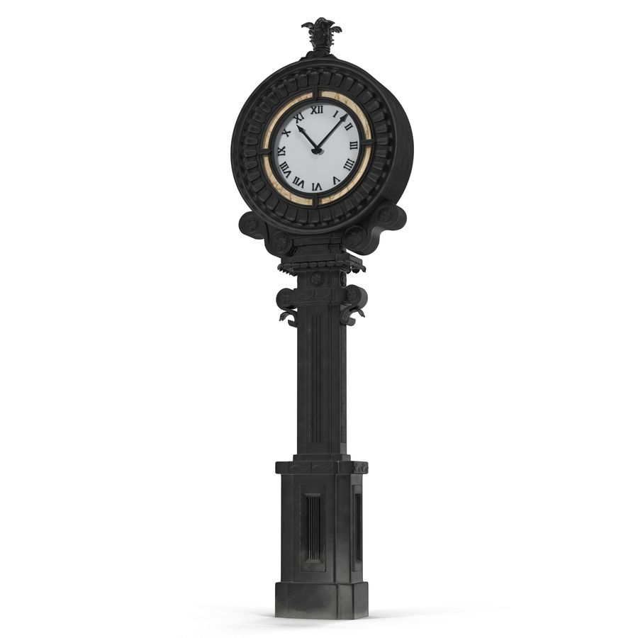 New York Street Clock royalty-free 3d model - Preview no. 2