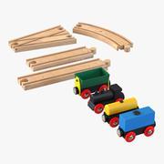 Hölzerner Spielzeugzug mit Spurset 3d model