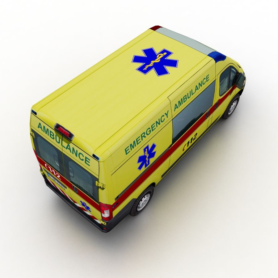 Peugeot Boxer Emergency Ambulance 2015 royalty-free 3d model - Preview no. 6