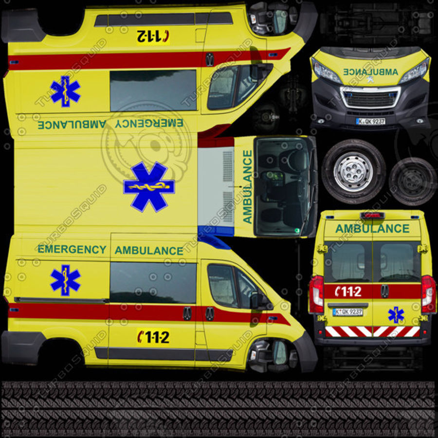 Peugeot Boxer Emergency Ambulance 2015 royalty-free 3d model - Preview no. 9