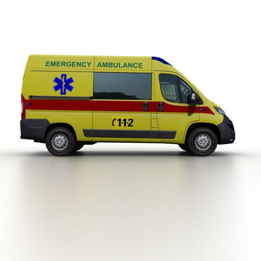 Peugeot Boxer Emergency Ambulance 2015 royalty-free 3d model - Preview no. 3