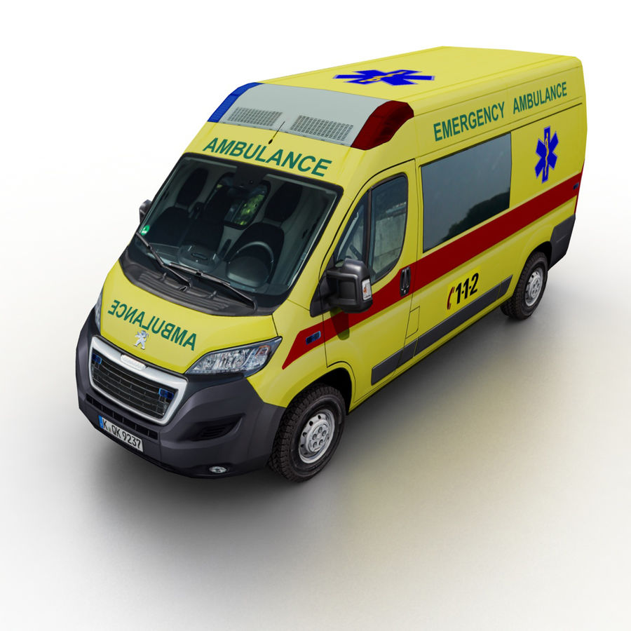 Peugeot Boxer Emergency Ambulance 2015 royalty-free 3d model - Preview no. 1