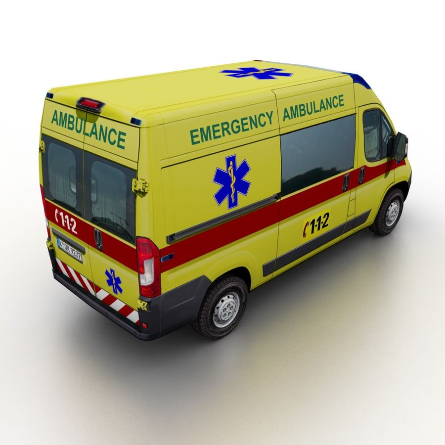 Peugeot Boxer Emergency Ambulance 2015 royalty-free 3d model - Preview no. 2