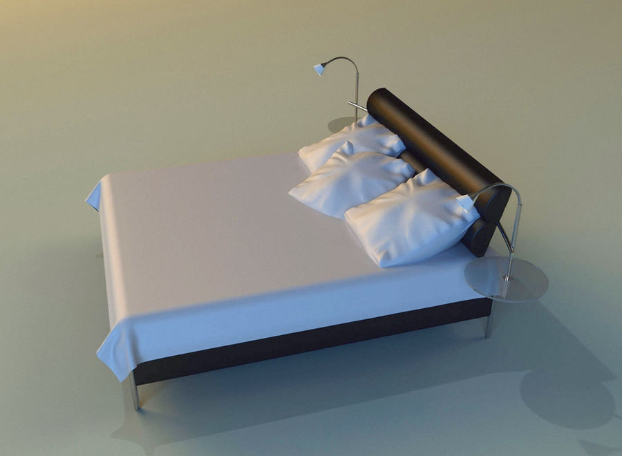 Bed black leather royalty-free 3d model - Preview no. 4
