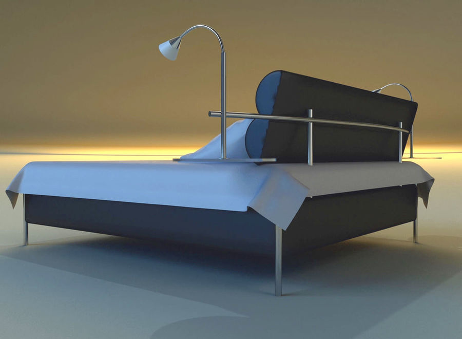 Bed black leather royalty-free 3d model - Preview no. 5