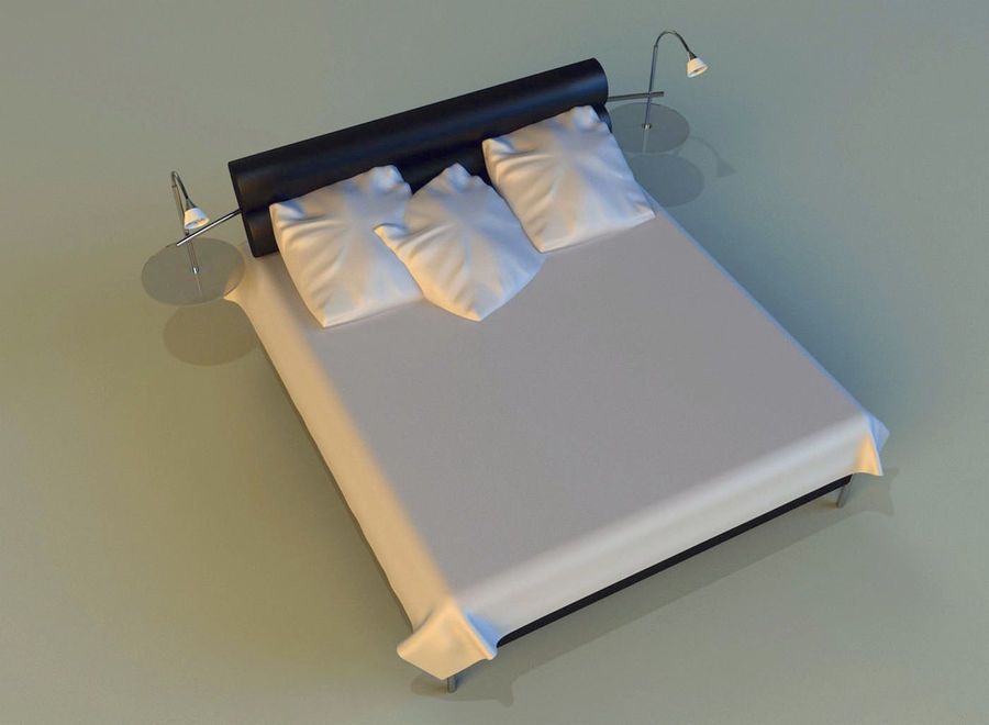 Bed black leather royalty-free 3d model - Preview no. 9