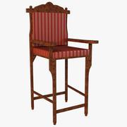 Cadeira de madeira em estilo real 3d model