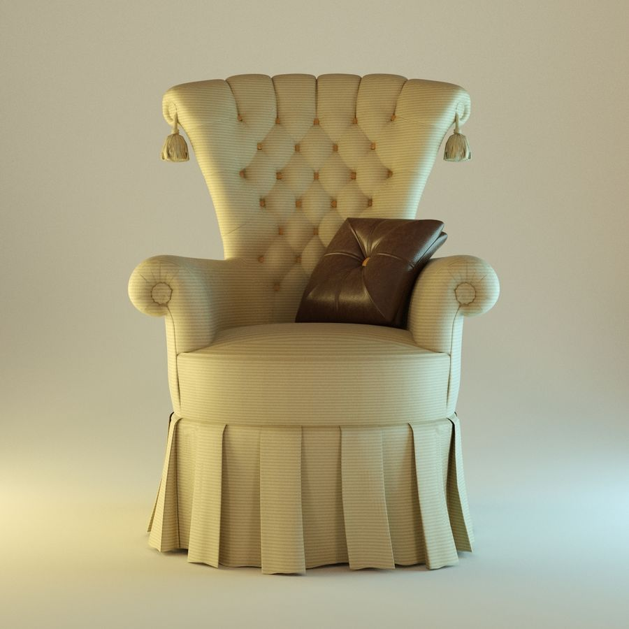 Armchair 27, yellow soft royalty-free 3d model - Preview no. 1