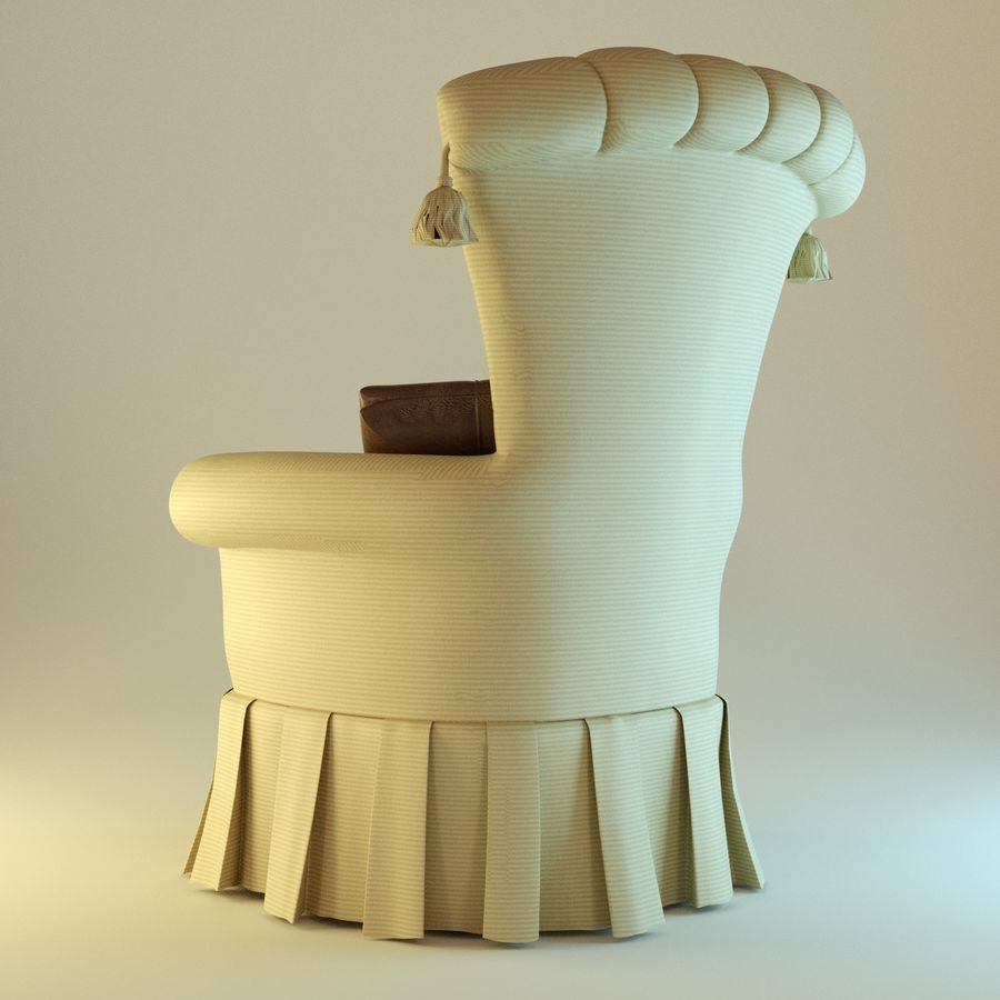 Armchair 27, yellow soft royalty-free 3d model - Preview no. 4