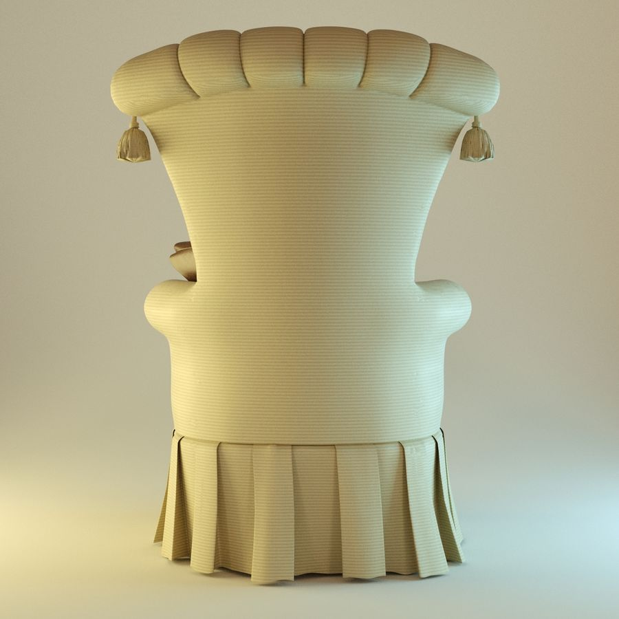 Armchair 27, yellow soft royalty-free 3d model - Preview no. 5