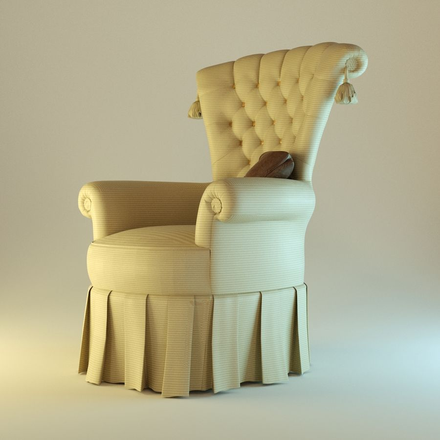 Armchair 27, yellow soft royalty-free 3d model - Preview no. 2
