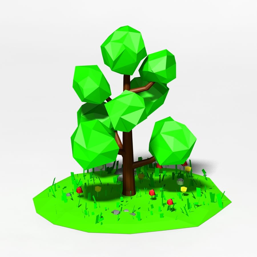 Cartoon laag poly boom scène royalty-free 3d model - Preview no. 4