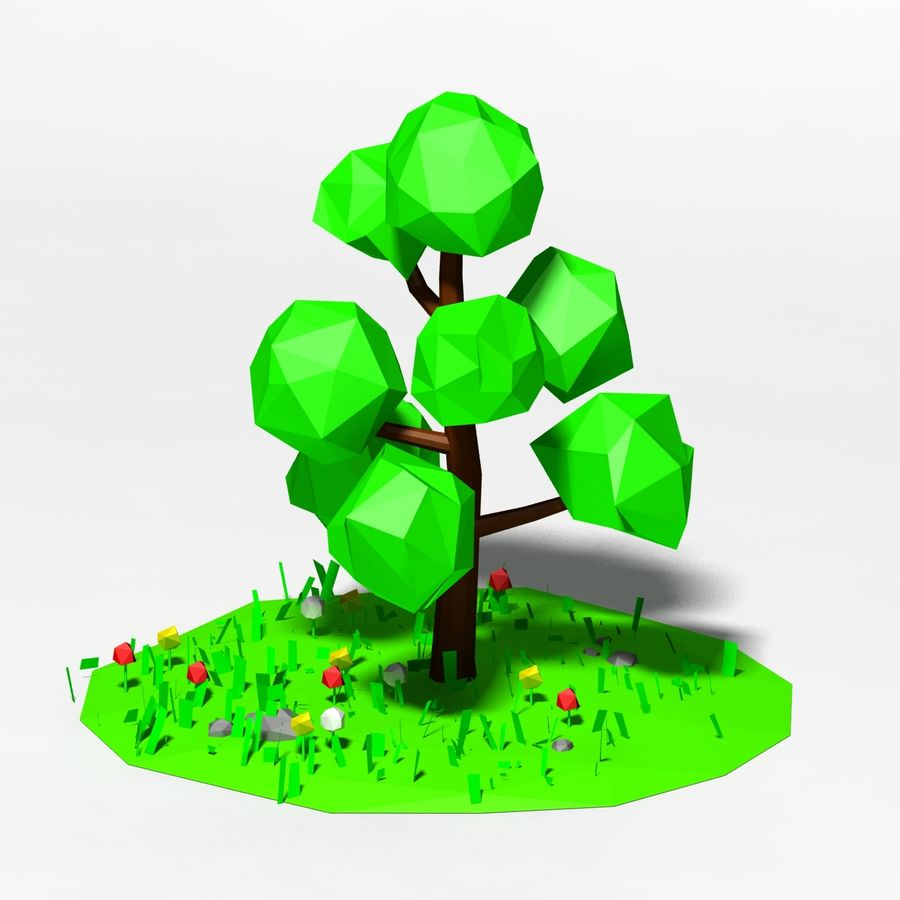 卡通低聚树场景 royalty-free 3d model - Preview no. 2