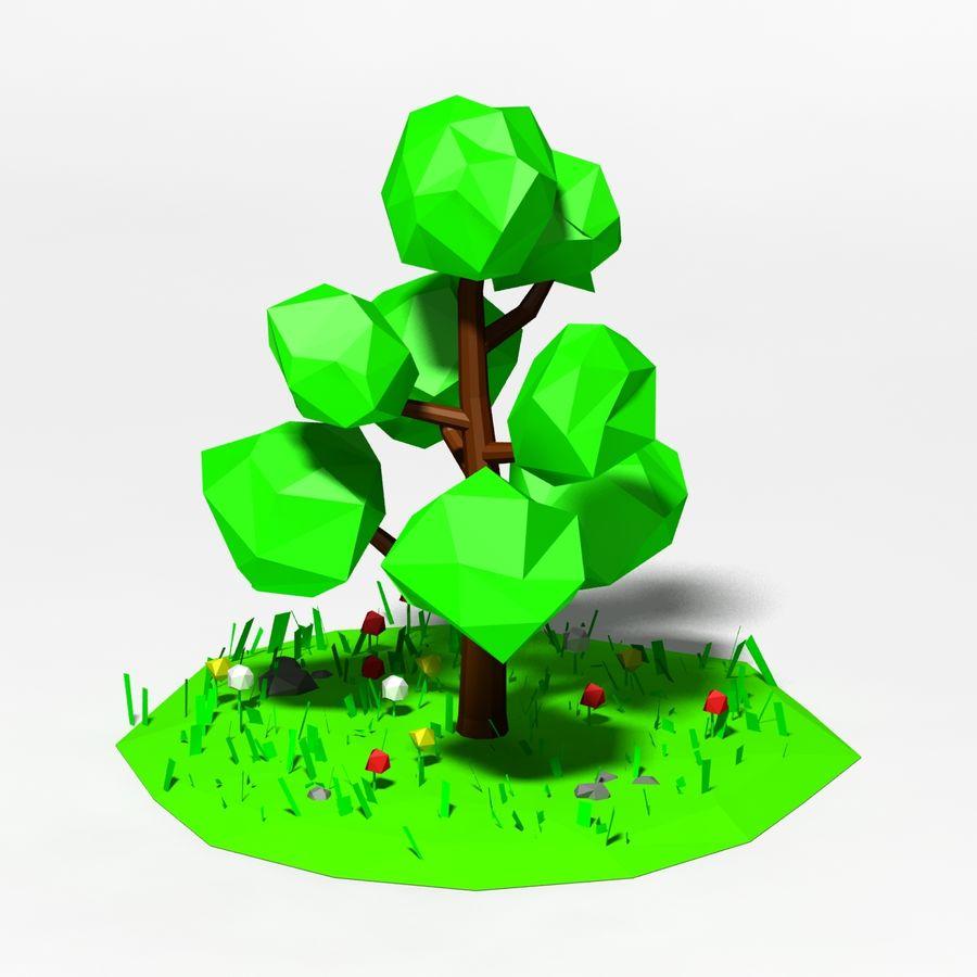 卡通低聚树场景 royalty-free 3d model - Preview no. 3