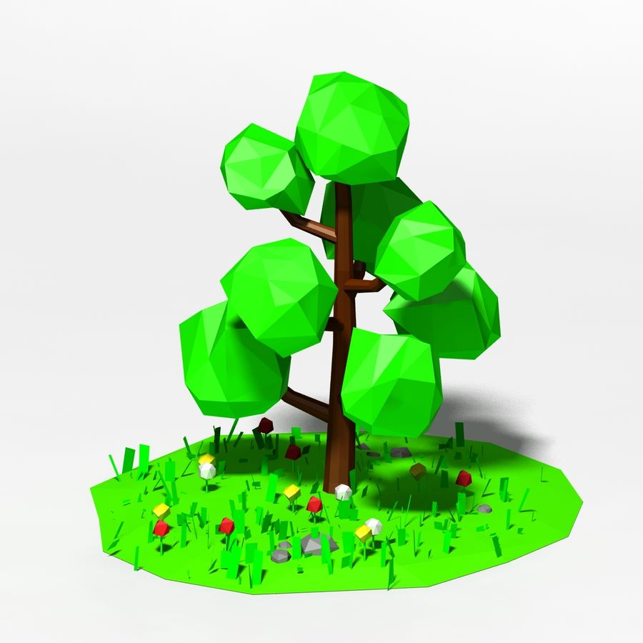 Cartoon laag poly boom scène royalty-free 3d model - Preview no. 1