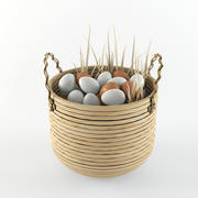 Basket & Eggs 3d model