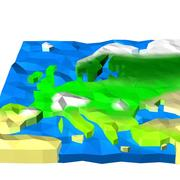 Europe low poly landscape 3d model
