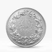 Half of Swiss Frank Coin 3d model