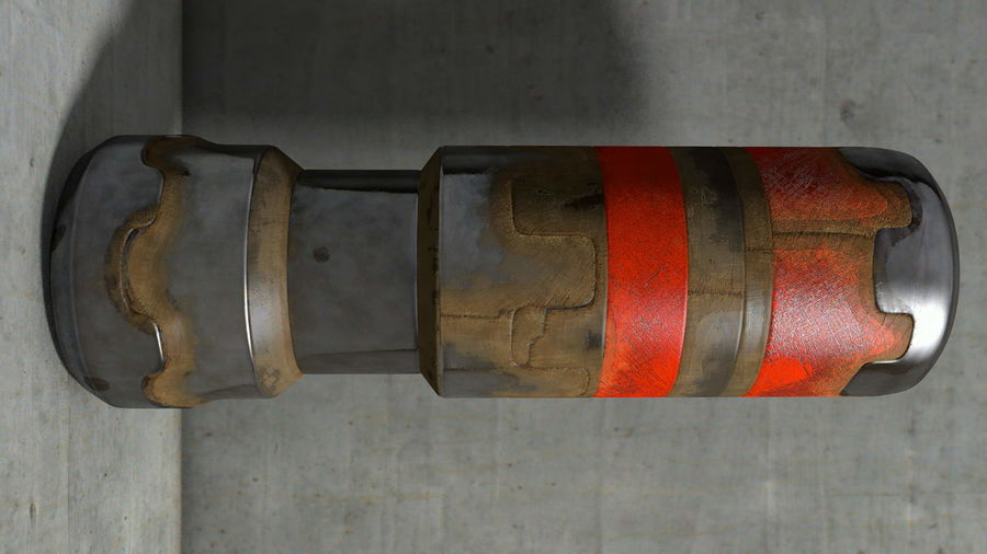 Cylinder Piston Pinion Worn Rusty Metal Lobe royalty-free 3d model - Preview no. 1