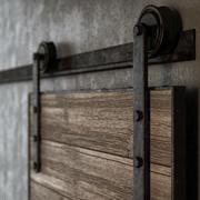 오래 된 슬라이딩 헛간 문 3d model