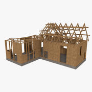 Timber frame house construction four textured 3d model