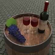 Wijnfles, glas en druiven 3d model