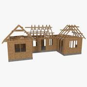 木结构房屋建筑三纹理 3d model