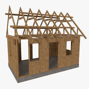Timber frame house construction one textured 3d model