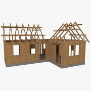 Timber frame house construction two textured 3d model