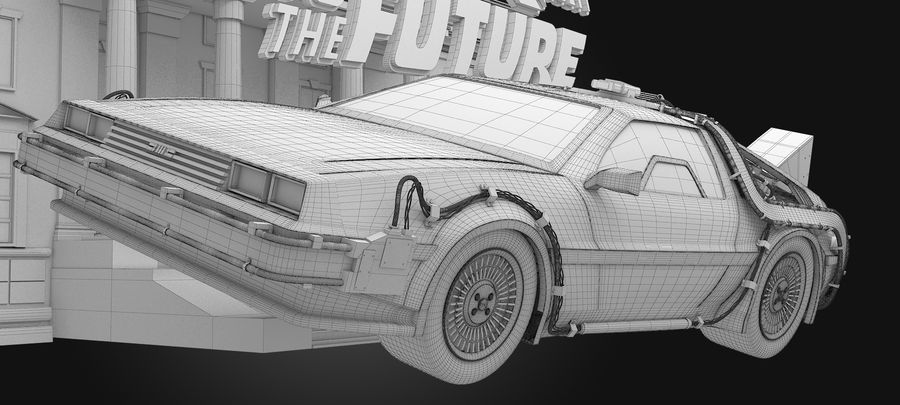 DeLorean - Back To The Future royalty-free 3d model - Preview no. 8