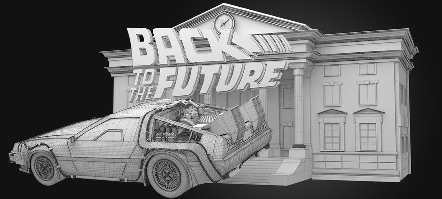 DeLorean - Back To The Future royalty-free 3d model - Preview no. 9