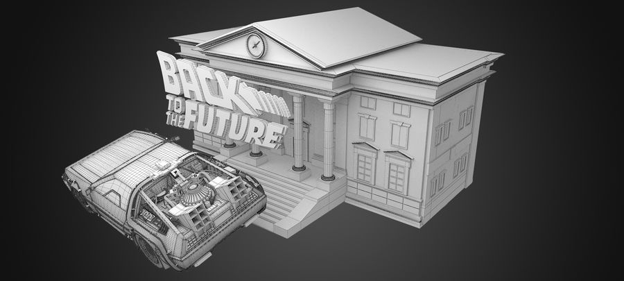 DeLorean - Back To The Future royalty-free 3d model - Preview no. 7