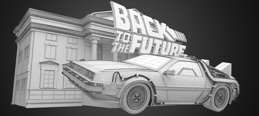 DeLorean - Back To The Future royalty-free 3d model - Preview no. 5