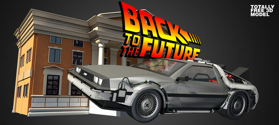 DeLorean - Back To The Future royalty-free 3d model - Preview no. 2