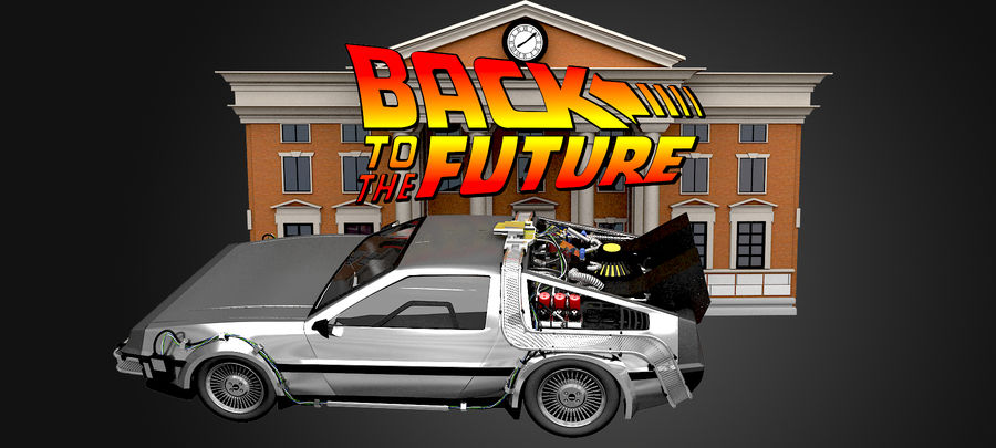 DeLorean - Back To The Future royalty-free 3d model - Preview no. 3
