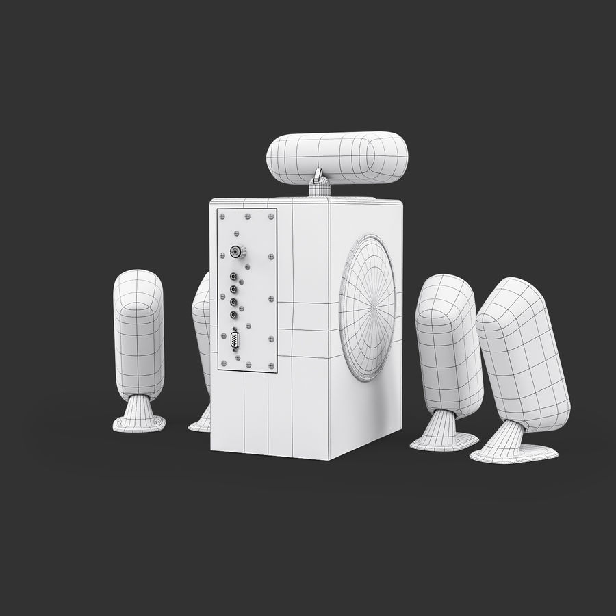 Logitech X-530 royalty-free 3d model - Preview no. 10