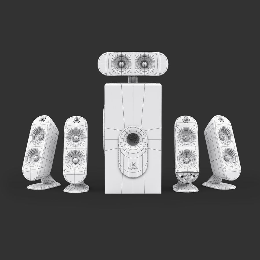 Logitech X-530 royalty-free 3d model - Preview no. 8
