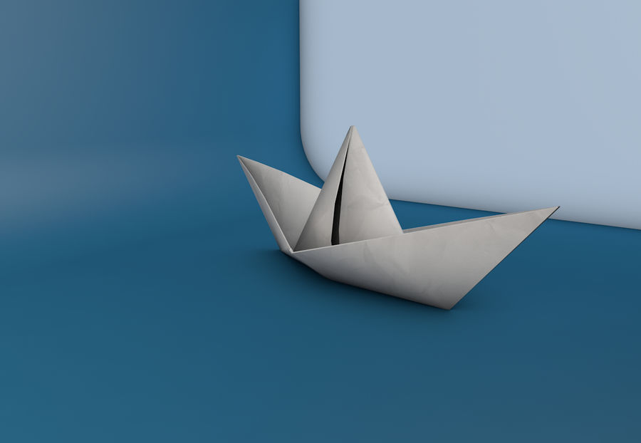 Paper boat royalty-free 3d model - Preview no. 4