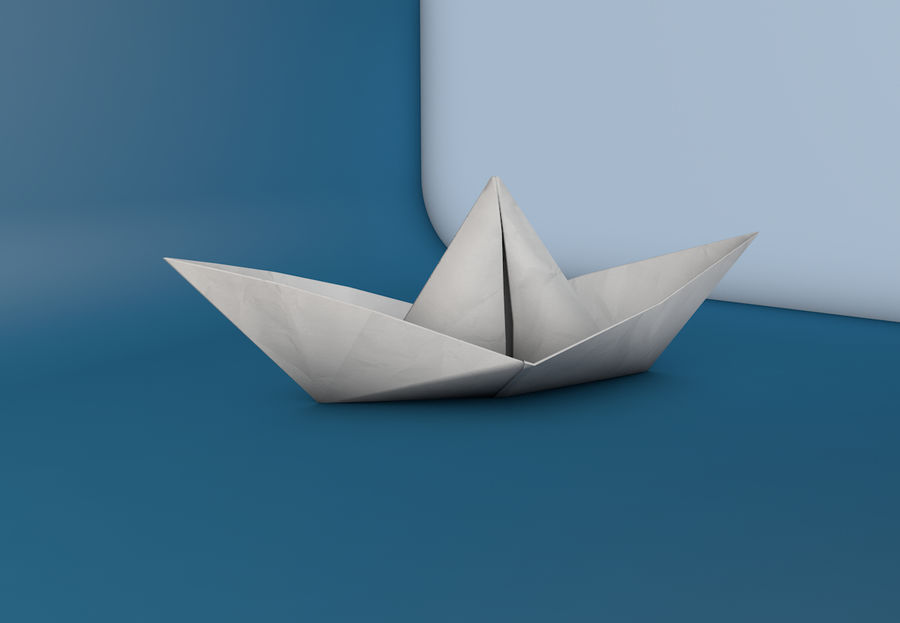 Paper boat royalty-free 3d model - Preview no. 1