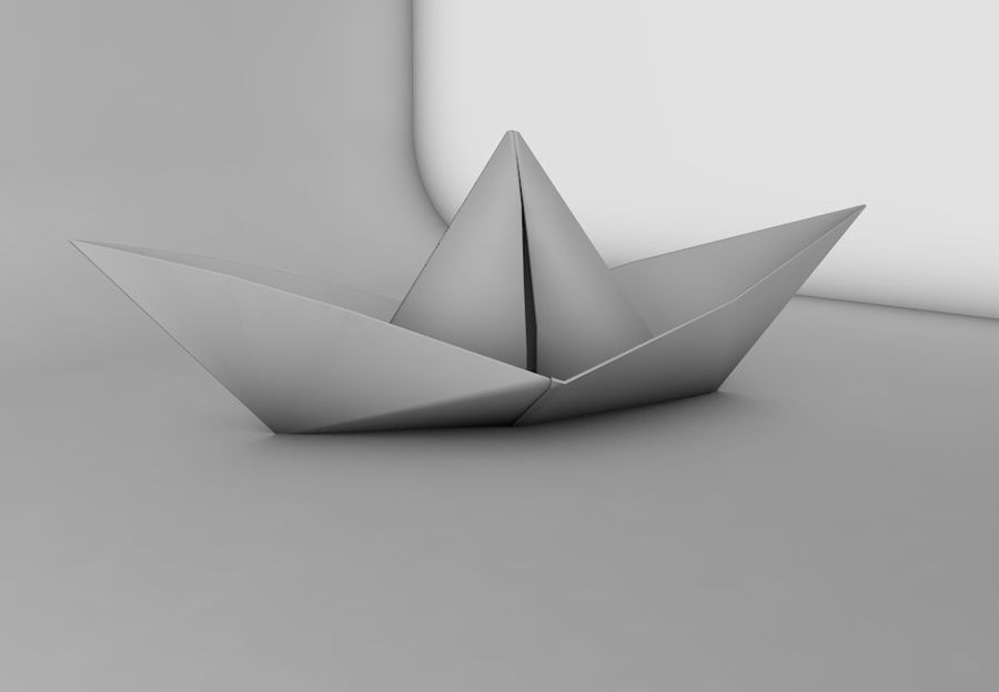 Paper boat royalty-free 3d model - Preview no. 3
