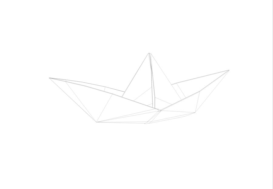 Paper boat royalty-free 3d model - Preview no. 5